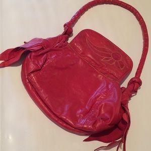 Handbags - Red leather and lizard hobo bag vintage 1980s boho